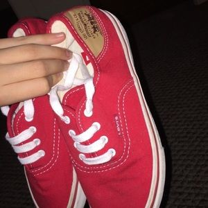 Levi's Red and White Lowtop Shoes
